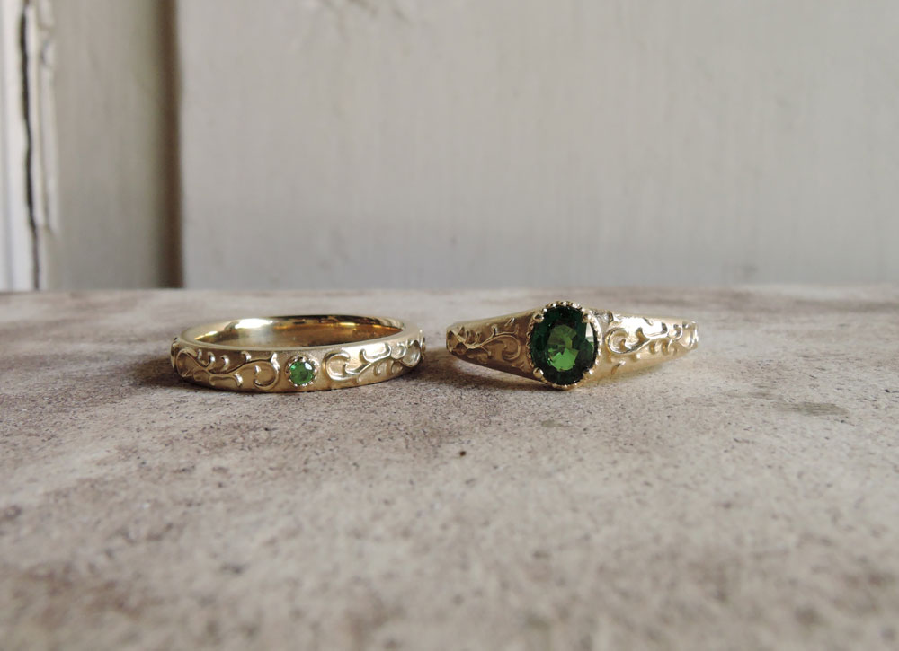 グリーンガーネット 結婚指輪