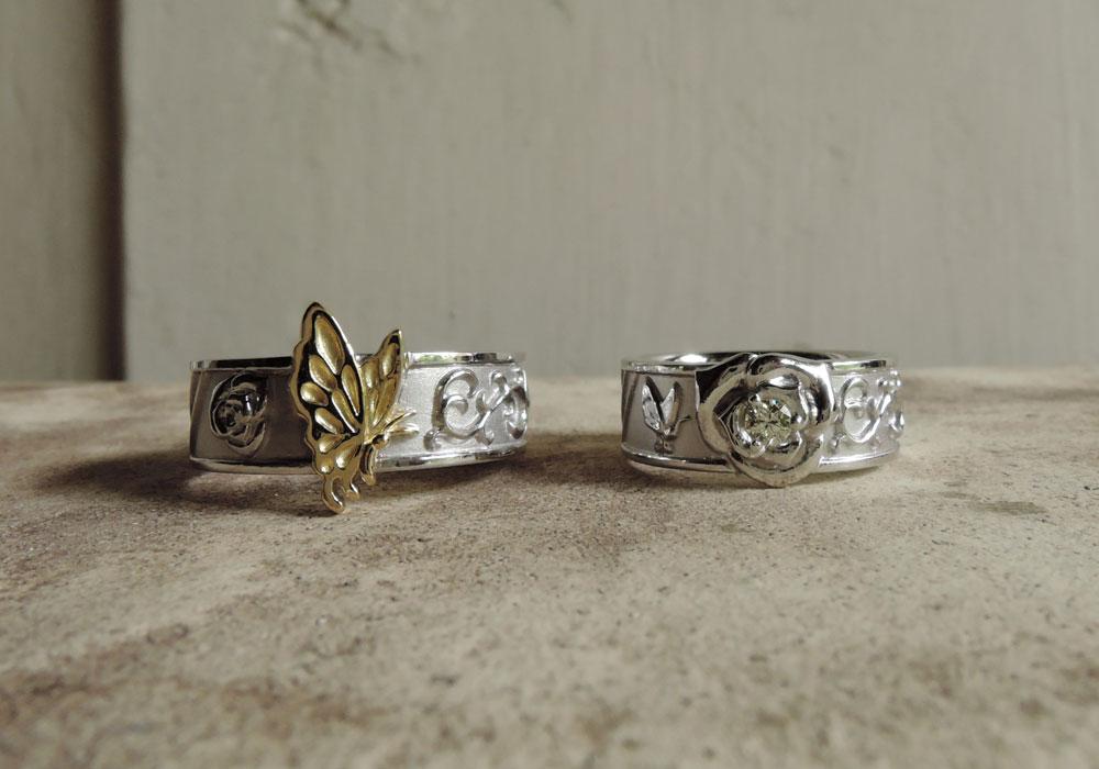 蝶 バラ 結婚指輪